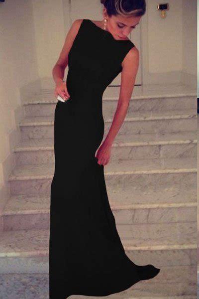 cheap sleeveless long black prom dresses  store