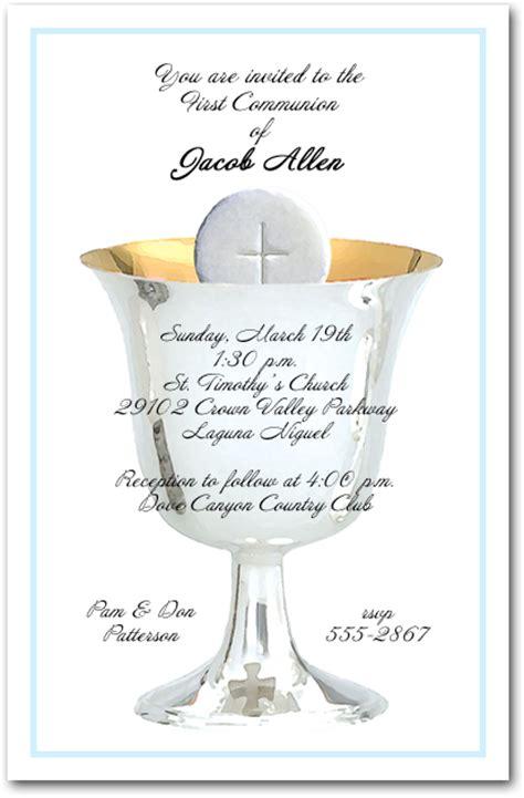blue border silver chalice  host boys  communion