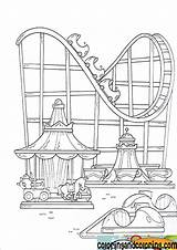 Park Coloring Amusement Pages Theme Drawing Coaster Roller Disney Fair Parks Ferris Wheel Fun Sheet Template Colouring Shelton Sketch County sketch template