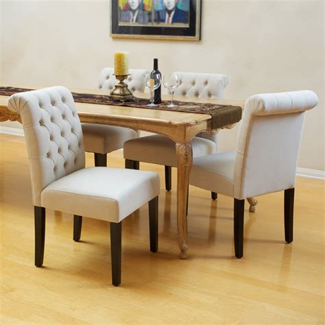 elmerson tufted ivory linen dining chair set