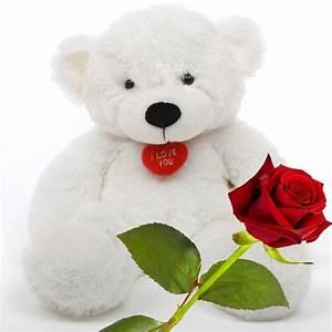 Buy Red Rose Stick n Cute Teddy Bear Valentine Gift Online