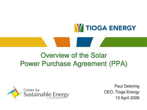 ppa overview tioga energy     ppa