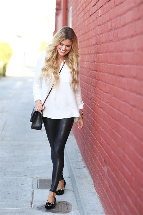 white top leather leggings sapphire diaries