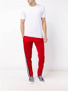 Lyst - Gucci Striped Panel Track Pants in Red for Men