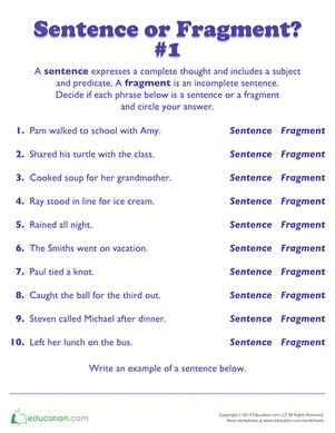 sentence or fragment grammar worksheets sentences and
