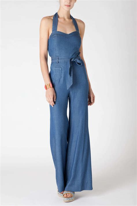 halter jumpsuits anthropologie sharlene halter jumpsuit in blue denim