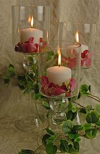 Add, A, Warm, Glow, To, Your, Table, With, These, Pretty, Glass, Pillar, Candle, Holders, Filled, With, Floral