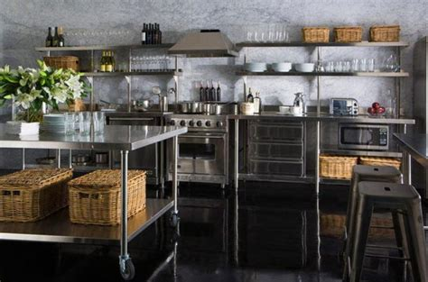 stainless steel kitchen ideas 15 dramatic kitchen designs with stainless steel shelves