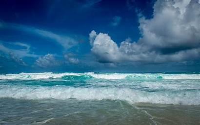 Waves Tropical Sky Clouds Sea Island Landscape