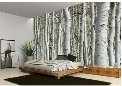 Papier Peint Autocollant Vintage by Wall Sticker Wallpaper White Birch Trees Wallpaper Mural
