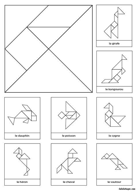 tangrams  imprimer en noir  blanc avec  modeles