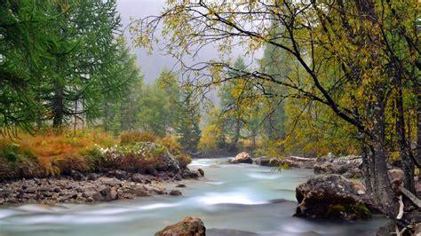 wallpaper  river mountain trees