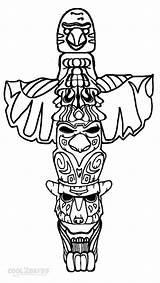 Totem Pole Coloring Pages Wolf Drawing Poles Easy Cool2bkids Native Printable Eagle Templates American Owl Faces Template Beaver Totum Drawings sketch template
