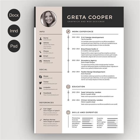 Cv Design by Clean Cv Resume Ii Resume Templates Creative Market