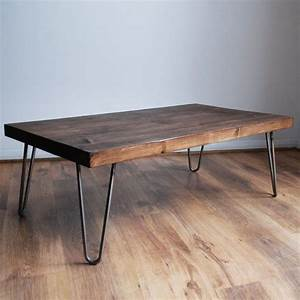 rustic vintage industrial solid wood coffee table bare With black metal and wood coffee table