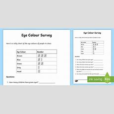 Eye Colour Tally Frequency Table Worksheet Worksheet
