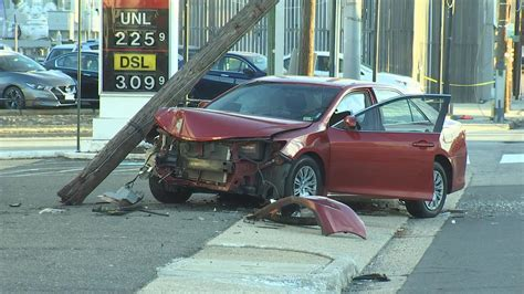 car crashes  arlington utility pole knocks  power