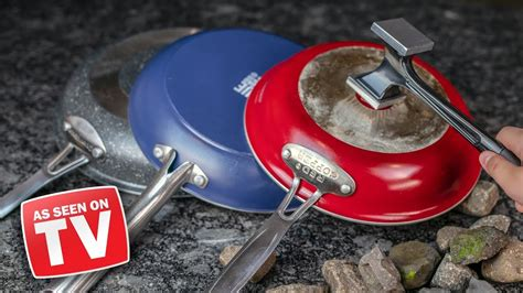 tv frying pans tested red copper blue diamond graniterock youtube
