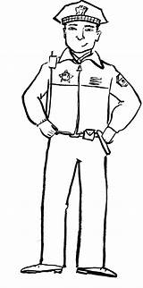 Policeman Police Coloring Pages Clipart Drawing Officer Uniform Printable Printables Badge Policemen Office Worksheets Template Firefighter Grasp Waist Week Activities sketch template