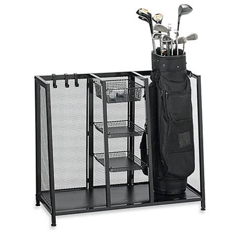 golf bag holder for garage metal two bag golf organizer www bedbathandbeyond
