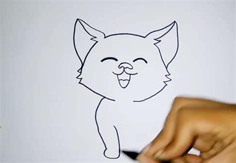 menggambar kucing  mudah  lucu  pemula