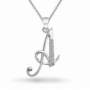 925 silver rhodium plated cz cursive initial letter for Letter a pendant necklaces silver