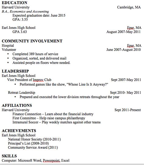 Freshman Resume by Resume Suggestions For A College Freshman Resumes
