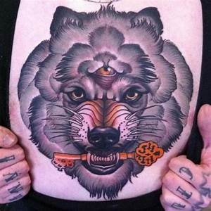 New School Chest Wolf Key Tattoo by Emily Rose Murray