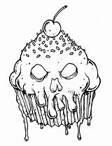 Coloring Evil Scary Cupcake Halloween Drawings Macabre Adult Adults Printable Skull Horror Tattoo Sheets Mandala Tattoodaze sketch template