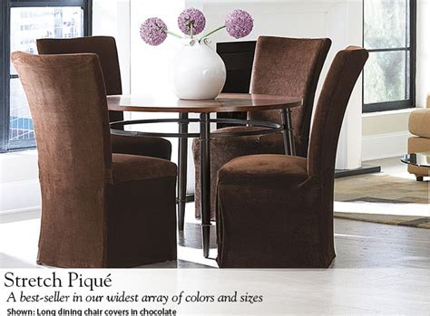 stretch pique long dining chair covers  chocolate