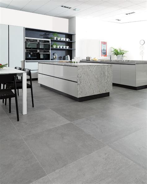 concrete look tiles rodano silver industrial kitchen