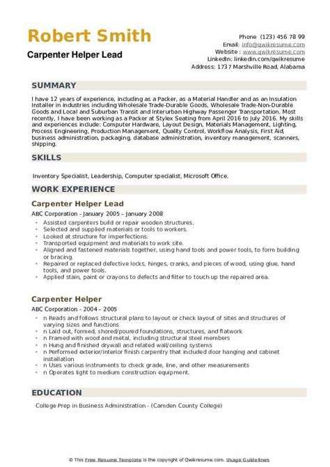 Resume Sles Pdf by What Does A Carpenter Helper Do Collections Photos Carpenter
