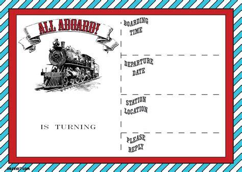 Free Printable Vintage Train Ticket Invitation Template