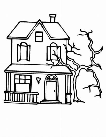 Haunted Coloring Pages Tree Spooky Mansion Dead