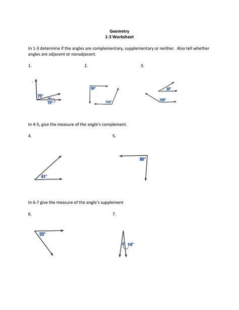 complementary and supplementary angles worksheet www