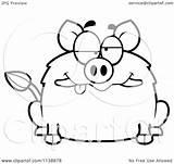 Drunk Coloring Clipart Cartoon Boar Outlined Vector Regarding Notes sketch template