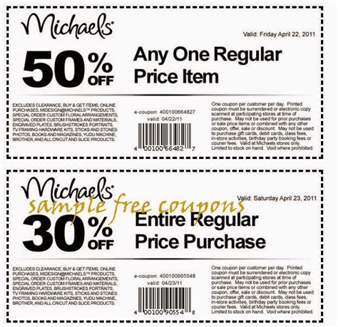 Michaels Crafts Printable Coupons 2018