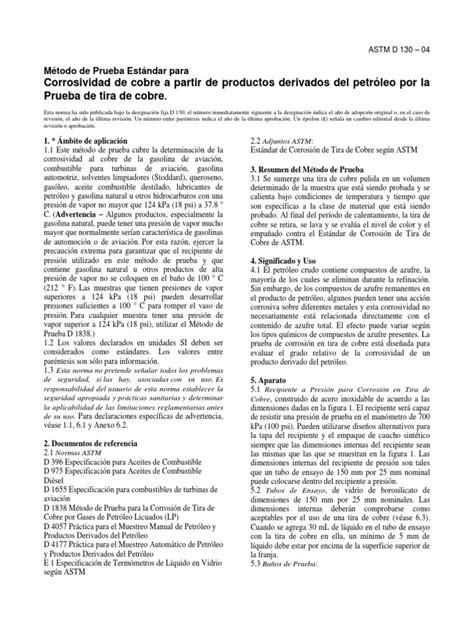 ASTM D 130 – 04 Corrosividad de Cobre | Papel | Color