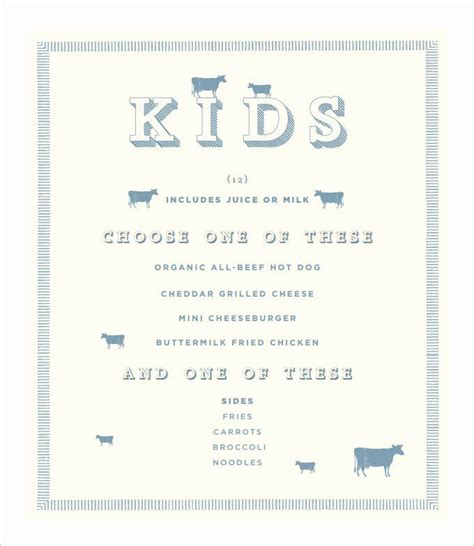 luxury  kid menu template    images menu