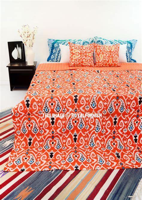 orange queen size paisley ikat kantha quilt blanket bedding bedspread royalfurnishcom