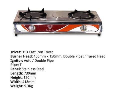 butterfly infrared gas stove end 9 11 2018 4 pm