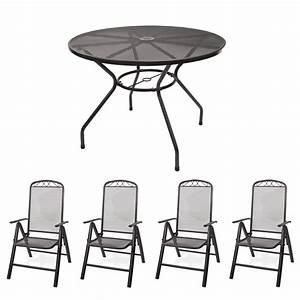 Tisch Rund 100 Cm : gartenm bel set metall 1x tisch rund 100x72cm 4x stuhl ~ Whattoseeinmadrid.com Haus und Dekorationen