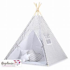 Tente Enfant Tipi : tente tipi enfant tissu gris zigzag promo ~ Teatrodelosmanantiales.com Idées de Décoration