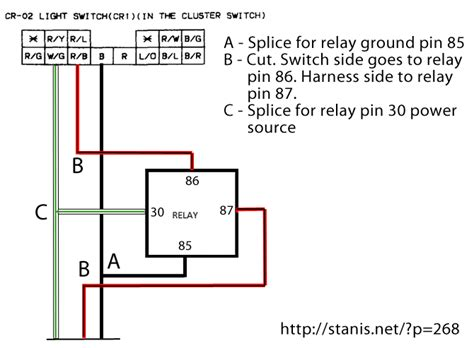 Simple Headlight Relay Wiring by Rx 7 Headlight Switch Harness Relay Mod Stanis Net