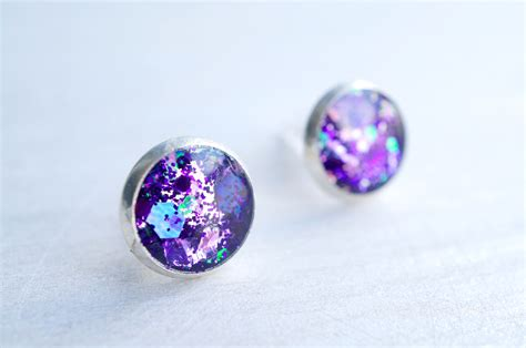 Small Purple Glitter Silver Stud Earrings On Storenvy. Adjustable Necklace. Nickel Free Stud Earrings. Personalised Bangle Bracelet. October Necklace. Emerald Cut Stud Earrings. Extra Large Lockets. Zulu Watches. Rare Stone Engagement Rings