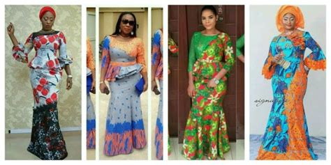 trendy ankara long gown style combined  cord lace