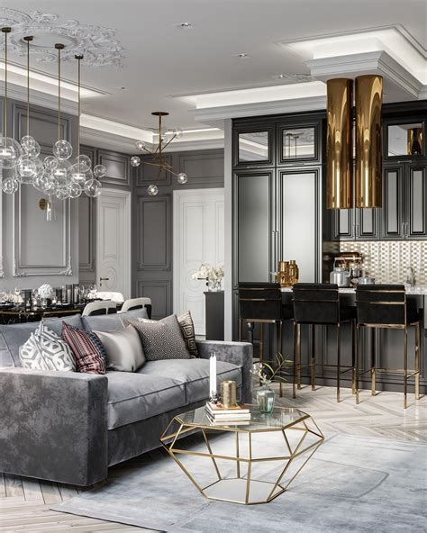 luxury  grey  gold monochromatic living room decor
