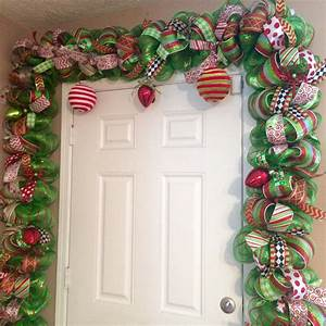 Whimsical, Christmas, Garland, Red, And, Green, Door, By, Allmeshedup2014