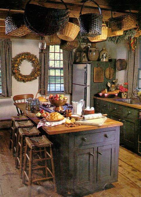 primitive country kitchens prim kitchen hanging baskets crocks on the fridge 1653