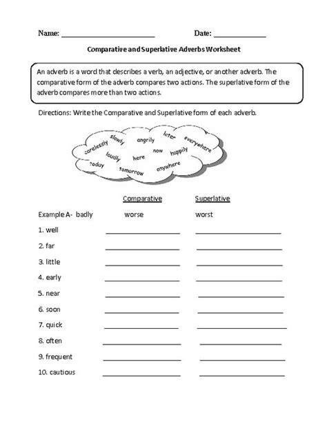 comparative and superlative adverb worksheet englishlinx